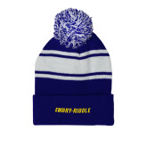 Royal/White Two Tone Knit Pom Beanie with Cuff-Embry Riddle Flat