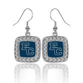 Crystal Studded Square Pendant Silver Dangle Earrings-Secondary Mark