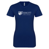 Next Level Ladies SoftStyle Junior Fitted Navy Tee-Shield Logo