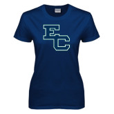 Ladies Navy T Shirt-Secondary Mark
