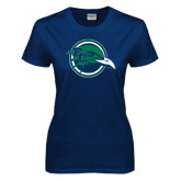 Ladies Navy T Shirt-Tertiary Mark