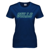Ladies Navy T Shirt-Gulls