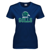 Ladies Navy T Shirt-Gulls Vertical