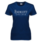 Ladies Navy T Shirt-Endicott College