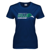 Ladies Navy T Shirt-Cheerleading