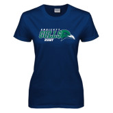 Ladies Navy T Shirt-Rugby