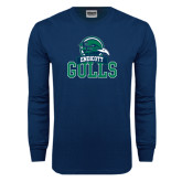 Navy Long Sleeve T Shirt-Gulls Vertical