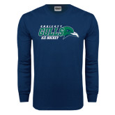 Navy Long Sleeve T Shirt-Ice Hockey