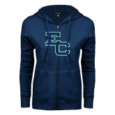 ENZA Ladies Navy Fleece Full Zip Hoodie-Secondary Mark