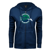 ENZA Ladies Navy Fleece Full Zip Hoodie-Tertiary Mark