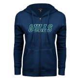 ENZA Ladies Navy Fleece Full Zip Hoodie-Gulls