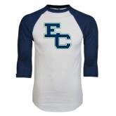 White/Navy Raglan Baseball T-Shirt-Secondary Mark