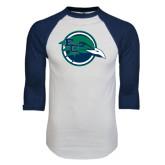 White/Navy Raglan Baseball T-Shirt-Tertiary Mark