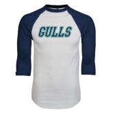 White/Navy Raglan Baseball T-Shirt-Gulls