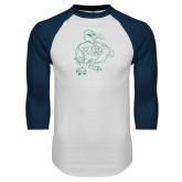 White/Navy Raglan Baseball T Shirt-Power Gull
