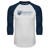 White/Navy Raglan Baseball T Shirt-Shield Logo