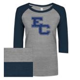 ENZA Ladies Athletic Heather/Navy Vintage Triblend Baseball Tee-EC Glitter Dark Blue