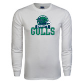 White Long Sleeve T Shirt-Gulls Vertical