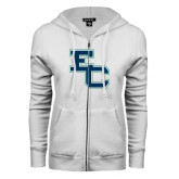 ENZA Ladies White Fleece Full Zip Hoodie-Secondary Mark