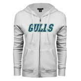 ENZA Ladies White Fleece Full Zip Hoodie-Gulls