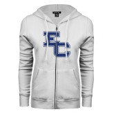 ENZA Ladies White Fleece Full Zip Hoodie-EC Glitter Dark Blue