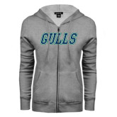 ENZA Ladies Grey Fleece Full Zip Hoodie-Gulls