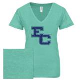 ENZA Ladies Seaglass Melange V Neck Tee-EC Glitter Dark Blue