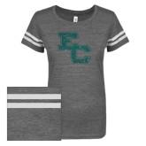 ENZA Ladies Dark Heather/White Vintage Triblend Football Tee-EC Glitter SeaGlass