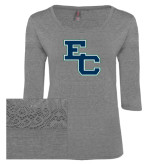 Ladies Grey Heather Tri Blend Lace 3/4 Sleeve Tee-Secondary Mark