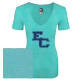 Next Level Ladies Vintage Tahiti Blue Tri Blend V Neck Tee-EC Glitter Dark Blue