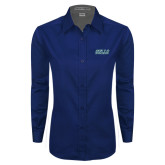 Ladies Navy Twill Button Down Long Sleeve-Gulls