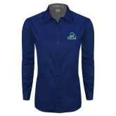 Ladies Navy Twill Button Down Long Sleeve-Gulls Vertical