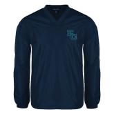 V Neck Navy Raglan Windshirt-Secondary Mark