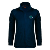 Ladies Fleece Full Zip Navy Jacket-Tertiary Mark