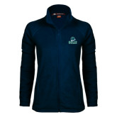 Ladies Fleece Full Zip Navy Jacket-Gulls Vertical