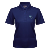 Ladies Navy Dry Mesh Polo-Secondary Mark