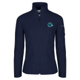 Columbia Ladies Full Zip Navy Fleece Jacket-Tertiary Mark