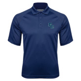 Navy Textured Saddle Shoulder Polo-Secondary Mark