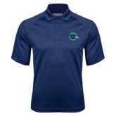 Navy Textured Saddle Shoulder Polo-Tertiary Mark