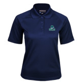 Ladies Navy Textured Saddle Shoulder Polo-Gulls Vertical