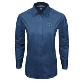 Ladies Deep Blue Tonal Pattern Long Sleeve Shirt-Secondary Mark
