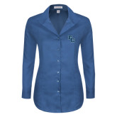 Ladies Red House Deep Blue Herringbone Non Iron Long Sleeve Shirt-Secondary Mark