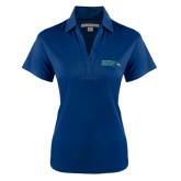 Ladies Navy Performance Fine Jacquard Polo-Primary Mark