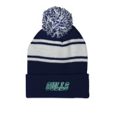 Navy/White Two Tone Knit Pom Beanie w/Cuff-Gulls
