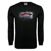 Black Long Sleeve TShirt-Sikorsky S76 Passing Rig in Gulf of Mexico