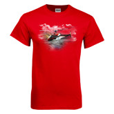Red T Shirt-A-Star AS 350 Alaska Flight Seeing Glaciers