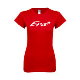 Next Level Ladies SoftStyle Junior Fitted Red Tee-Era