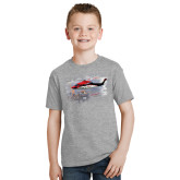 Youth Grey T-Shirt-Sikorsky S76 Passing Rig in Gulf of Mexico