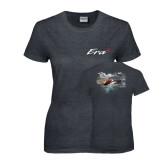 Ladies Dark Heather T Shirt-A-Star AS 350 Alaska Flight Seeing Glaciers with Alaska