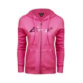 ENZA Ladies Fuchsia Fleece Full Zip Hoodie-Era Foil